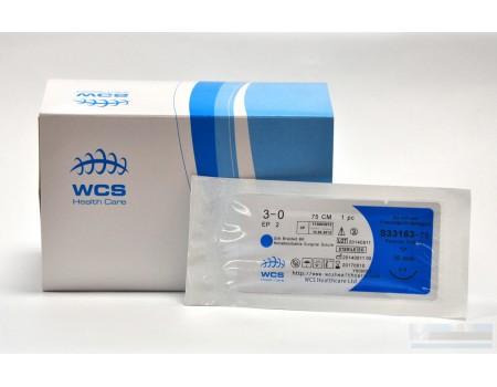 Нить, PGA (полигликолевая кислота), рассасывающийся,  5/0, 75 см, игла 16 мм, обратно-режущая 3/8